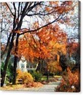 Suburban Street In Autumn Acrylic Print