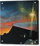 Suburban Sunset Oil On Canvas Acrylic Print