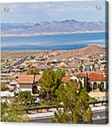 Suburbs And Lake Mead With Surrounding Acrylic Print