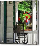 Suburbs - Porch With Rocking Chair And Geraniums Acrylic Print by Susan Savad