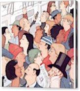 Subway Riders All Resemble Eustace Tilley Acrylic Print