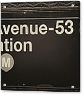 Subway Station Sign Acrylic Print