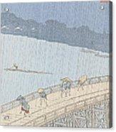 Sudden Shower On Ohashi Bridge At Ataka Acrylic Print by Ando Hiroshige