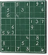 Sudoku On A Chalkboard Acrylic Print