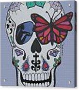 Sugar Candy Skull Blue Acrylic Print
