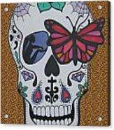 Sugar Candy Skull Leopard Acrylic Print