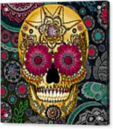 Sugar Skull Paisley Garden - Copyrighted Acrylic Print by Christopher Beikmann