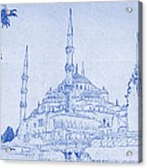 Sultan Ahmed Mosque Istanbul Blueprint Acrylic Print