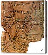 Sumerian Map, Clay Cuneiform Tablet Acrylic Print