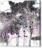 Sumie No.6 Weeping Willow Cheery Blossoms Acrylic Print