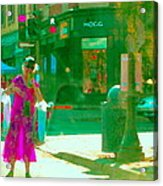 Summer Heatwave Too Hot To Walk Lady Hailing Taxi Cab At Hogg Hardware Rue Sherbrooke Carole Spandau Acrylic Print