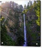 Summer Morning Rays At Multnomah Falls Oregon  Acrylic Print