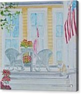 print Summer Porch and Flag for sale Acrylic Print