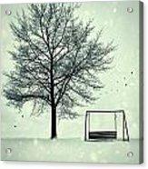 Summer Swing Abandoned In Snow Beside Tree Acrylic Print