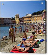 Sun Bathers In Sestri Levante In The Italian Riviera In Liguria Italy Acrylic Print by David Smith