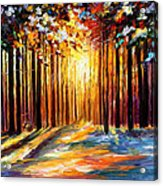 Sun Of January - Palette Knife Landscape Forest Oil Painting On Canvas By Leonid Afremov Acrylic Print