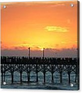 Sun In Clouds Over Pier Acrylic Print