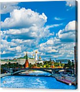 Sun Over The Old Cathedrals Of Moscow Kremlin Acrylic Print