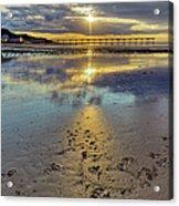 Sun Ray Sunset Saltburn Acrylic Print