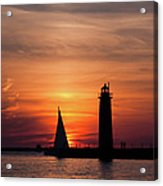 Sun Set At The Muskegon Lighthouse Acrylic Print