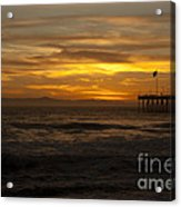Sun Setting Behind Santa Cruz With Ventura Pier 01-10-2010 Acrylic Print