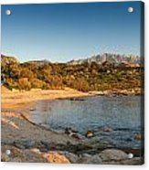 Sun Setting On The Beach At Arinella Plage In Corsica Acrylic Print
