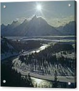 1m9313-sunburst Over Grand Teton, Wy Acrylic Print