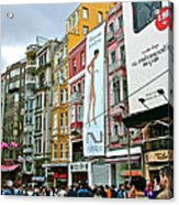 Sunday Afternoon On Pedestrian Walkway In Istanbul-turkey Acrylic Print