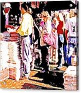 Sunday Morning Paper Sidewalk Newsstand Digitl Art Acrylic Print