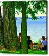 Sunday Picnic On The Lake Maple Trees At The Canal Pte Claire Montreal Waterscene Carole Spandau Acrylic Print
