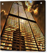 Sundown At Willis Sears Tower Acrylic Print