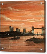 Sundown Over Tower Bridge London Acrylic Print
