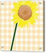 Sunflower On Yellow Plaid Acrylic Print