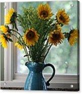 Sunflower Window Acrylic Print by Paula Rountree Bischoff