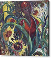 Sunflower Woman #1 Acrylic Print by Avonelle Kelsey