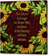 Sunflowers And Future Poem Acrylic Print