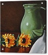 Sunflowers And Green Water Jug Acrylic Print by Daniel Kansky