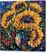 Sunflowers Bouquet In Vase Acrylic Print