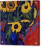 Sunflowers Acrylic Print by Ernst Ludwig Kirchner