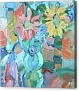 Sunflowers In Blue Vase Acrylic Print by Brenda Ruark