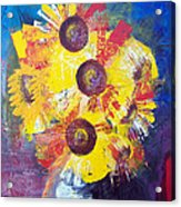 Sunflowers In Blue Vase Acrylic Print