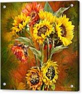 Sunflowers In Sunflower Vase - Square Acrylic Print by Carol Cavalaris