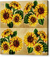 Sunflowers Pattern Country Field On Wooden Board Acrylic Print