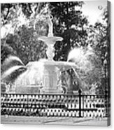Sunlight Through Savannah Fountain With Vignette Acrylic Print
