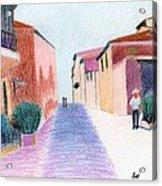 Sunlit Street Scene Acrylic Print by Bav Patel