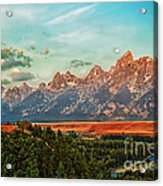 Sunrise At Grand Tetons Acrylic Print