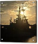 Sunrise At The Naval Base Silhouette Erie Basin Marina V1 Acrylic Print