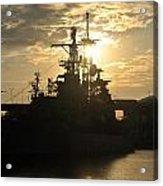 Sunrise At The Naval Base Silhouette Erie Basin Marina V3 Acrylic Print