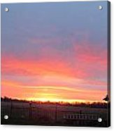 Sunrise Between Farm Barns Acrylic Print