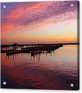 Sunrise Dock Over Lake Huron Acrylic Print